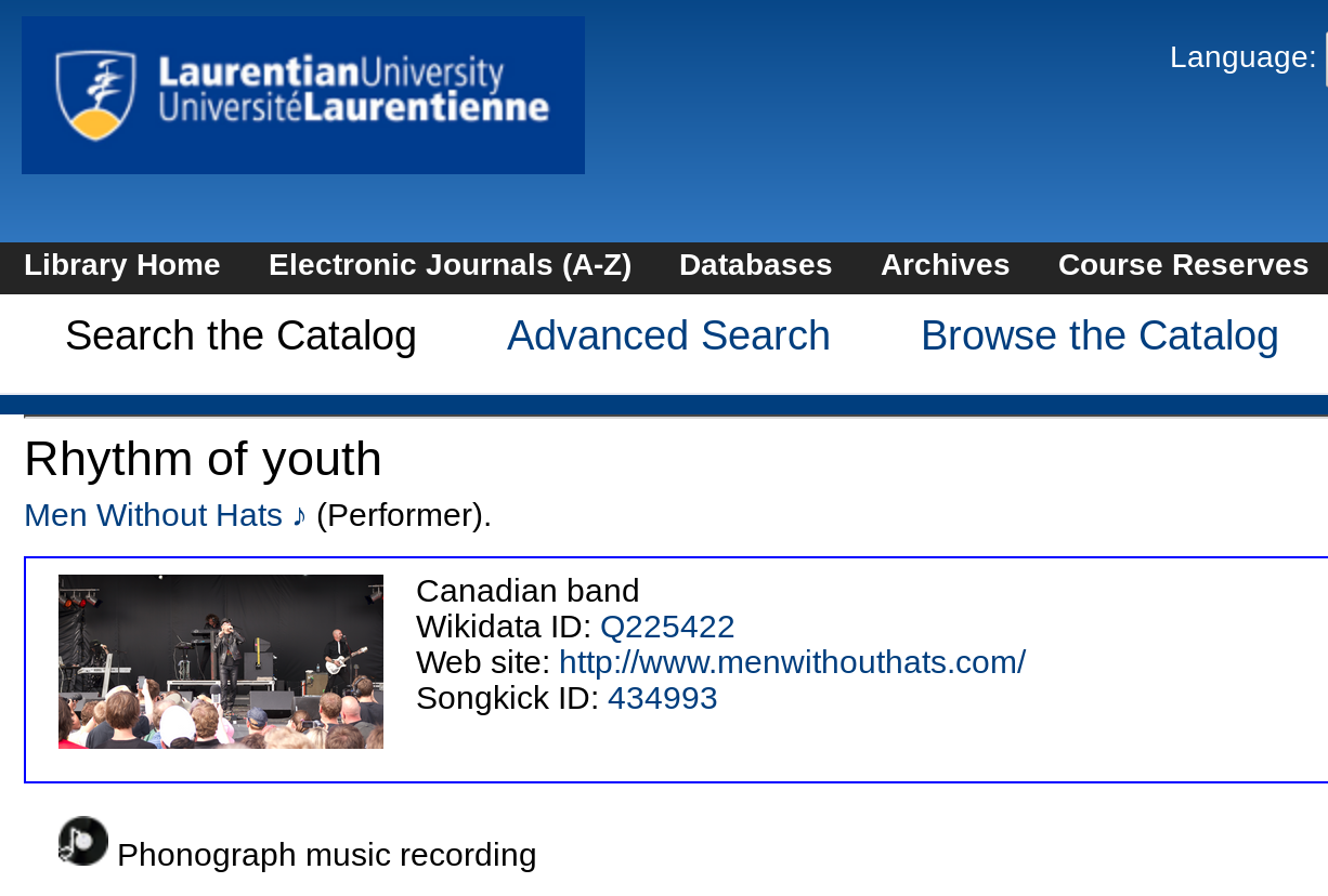 Catalogue record for Men Without Hats displaying an image of the band and data such as their website URL