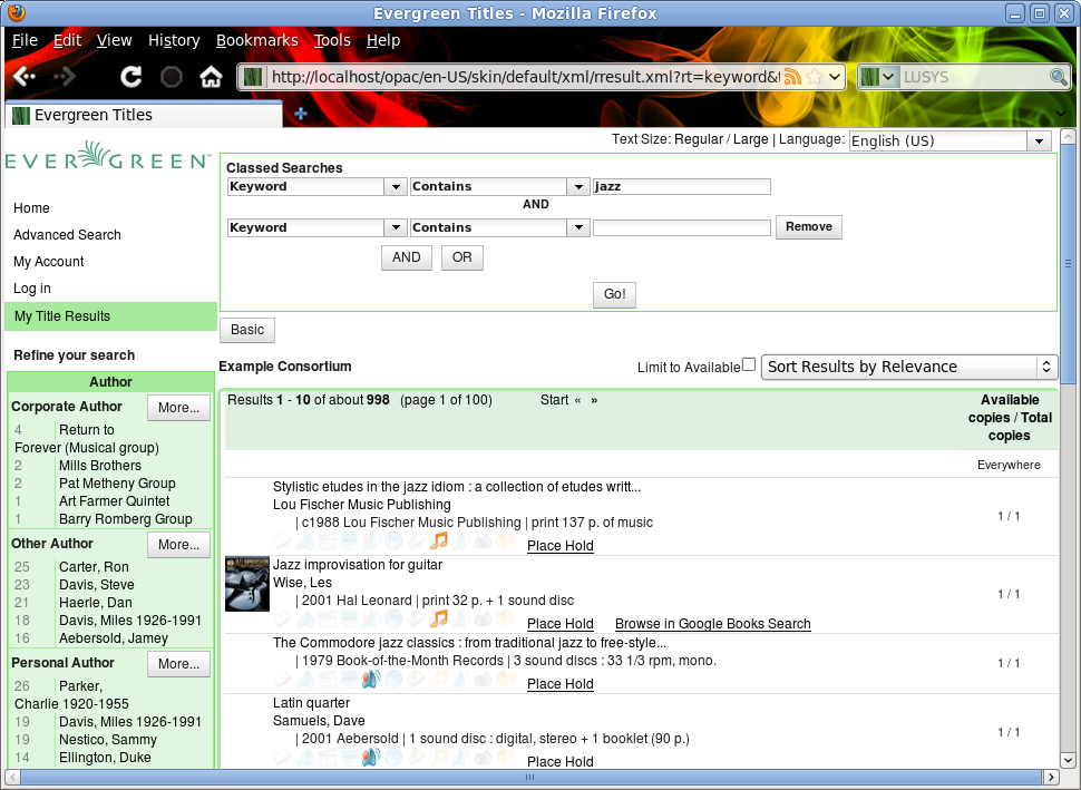 Evergreen 2.0 inline advanced search interface showing AND and OR options