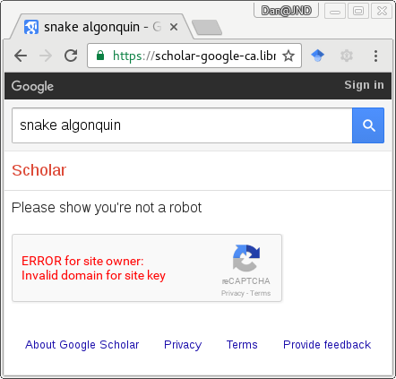 Screenshot of a broken RECAPTCHA preventing Google Scholar from working