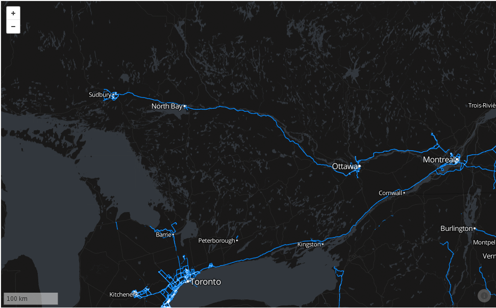 Map showing Northern Ontario with line from Sudbury to Ottawa
