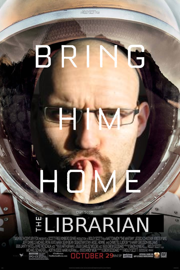 The Librarian (a modified version of The Martian book cover)